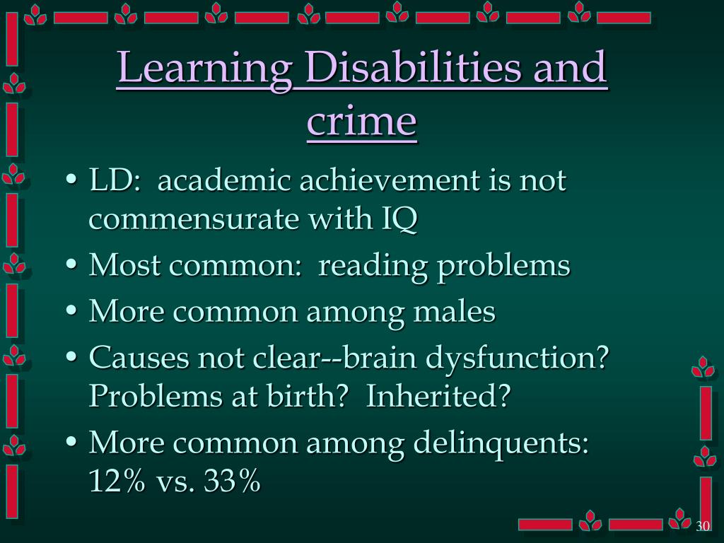 Learning Disabilities and crime