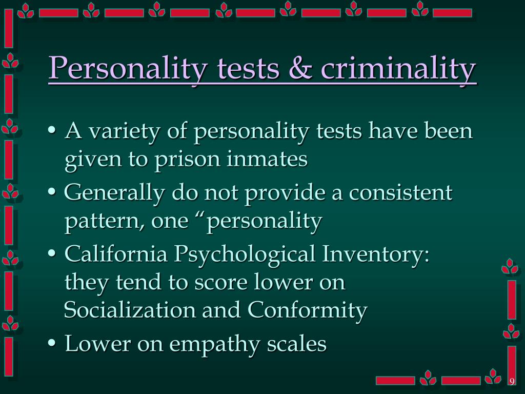 Personality tests & criminality