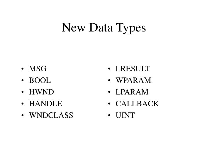 New data types