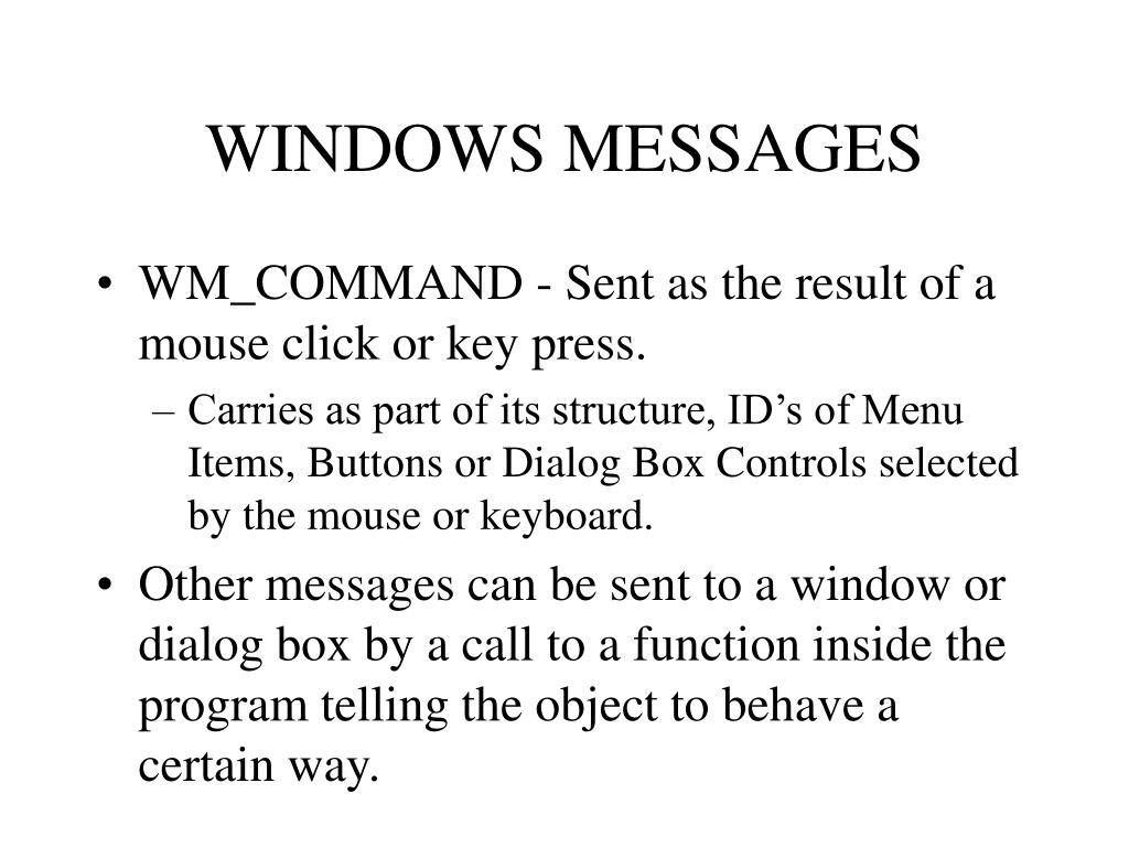 WINDOWS MESSAGES