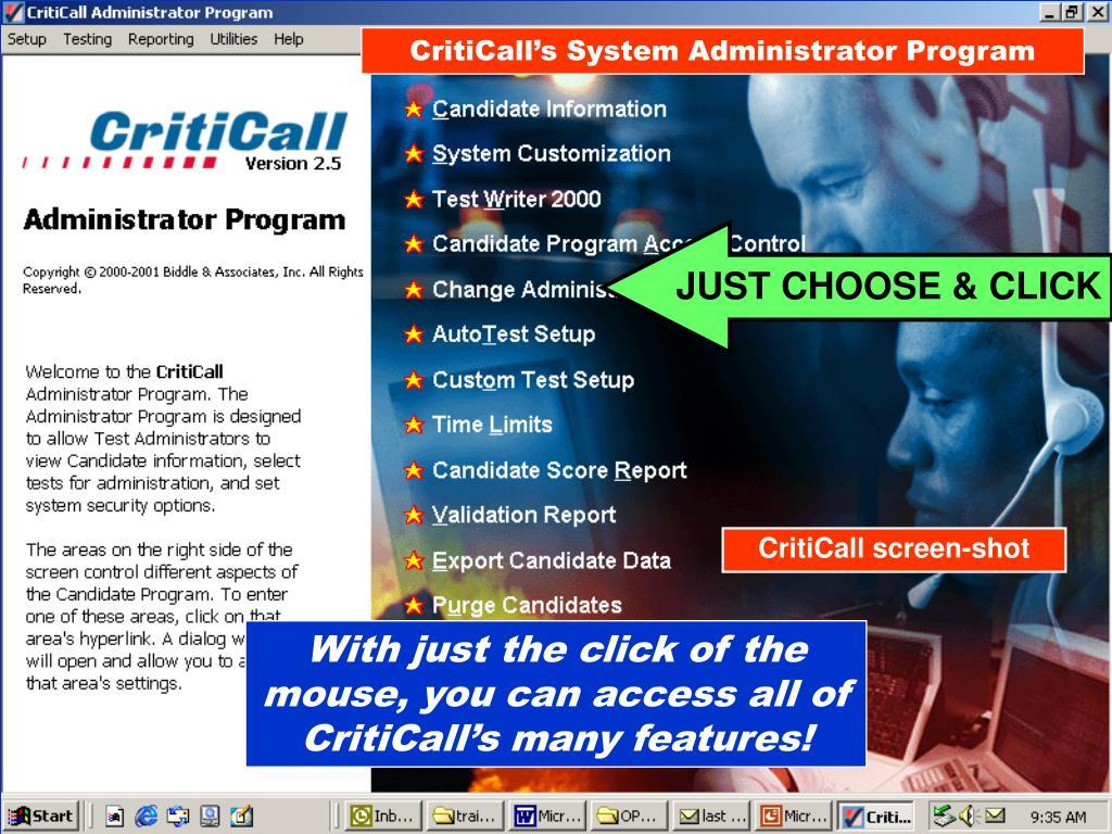 CritiCall's System Administrator Program