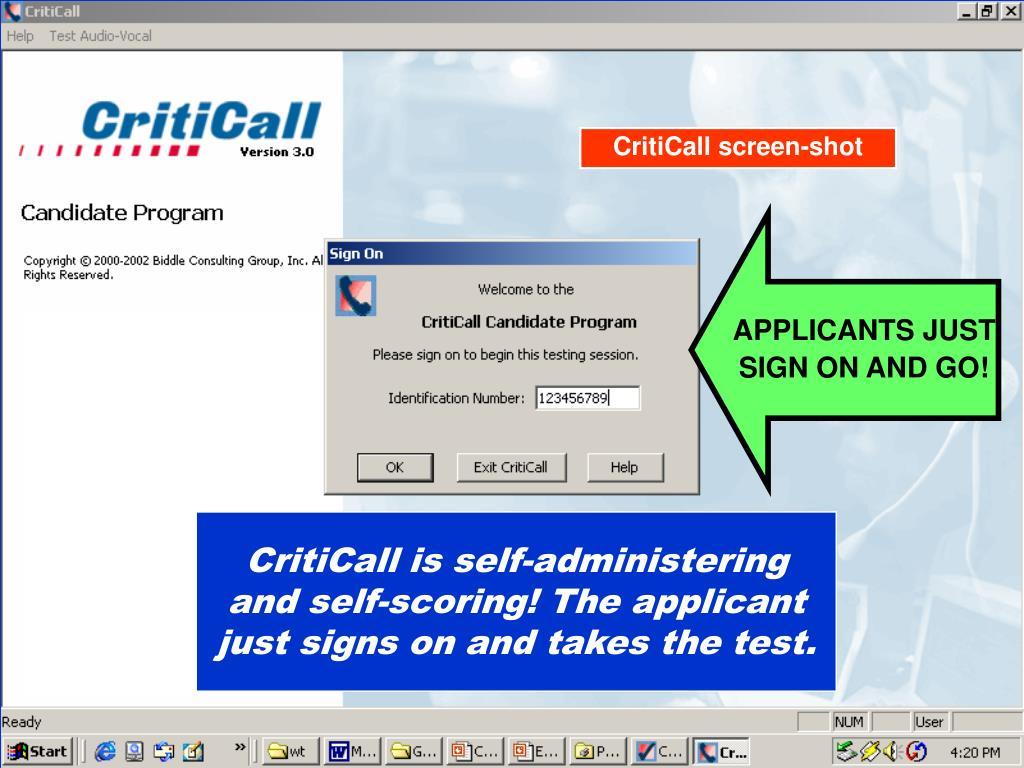 CritiCall screen-shot