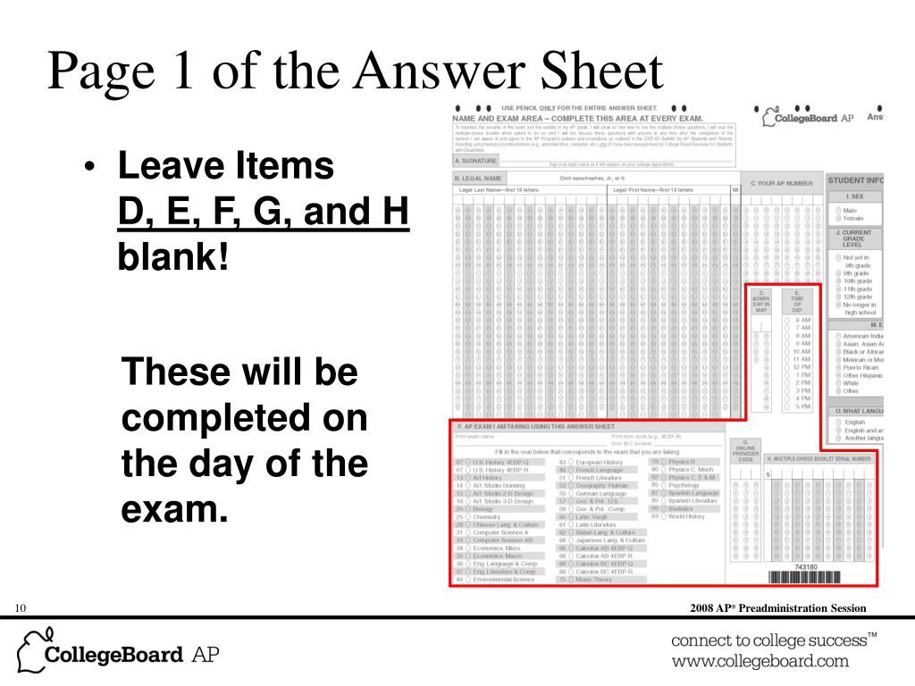 Page 1 of the Answer Sheet
