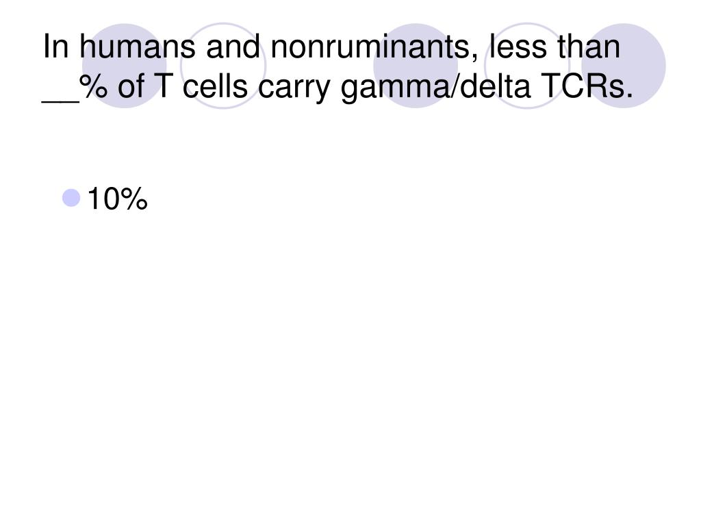 In humans and nonruminants, less than __% of T cells carry gamma/delta TCRs.