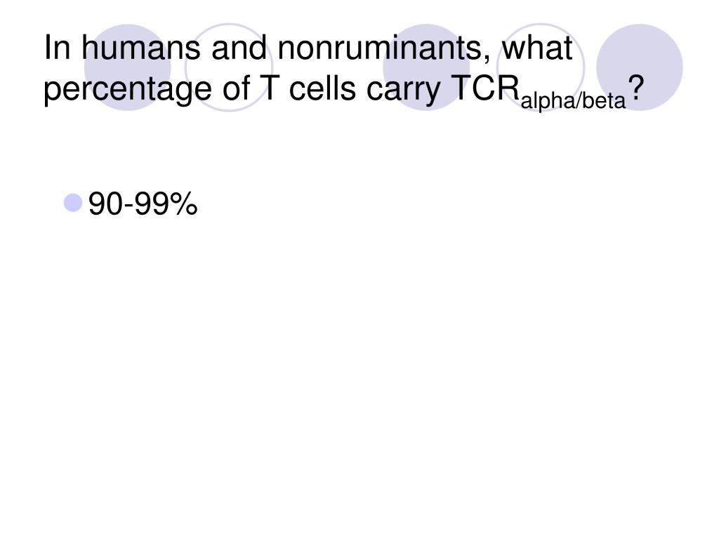 In humans and nonruminants, what percentage of T cells carry TCR