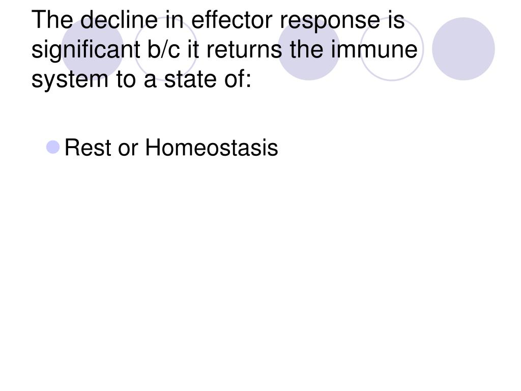 The decline in effector response is significant b/c it returns the immune system to a state of: