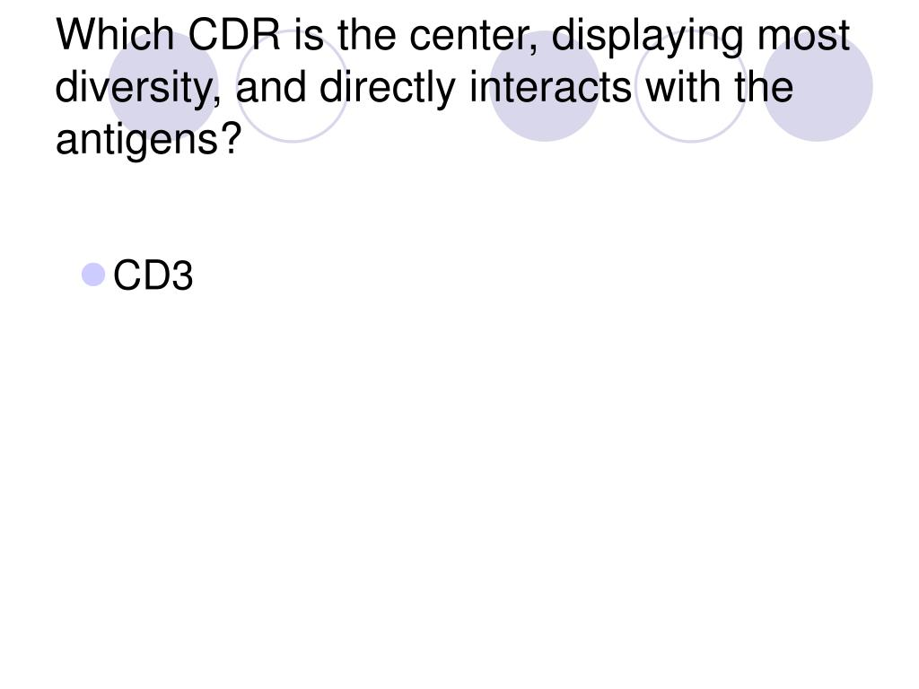 Which CDR is the center, displaying most diversity, and directly interacts with the antigens?