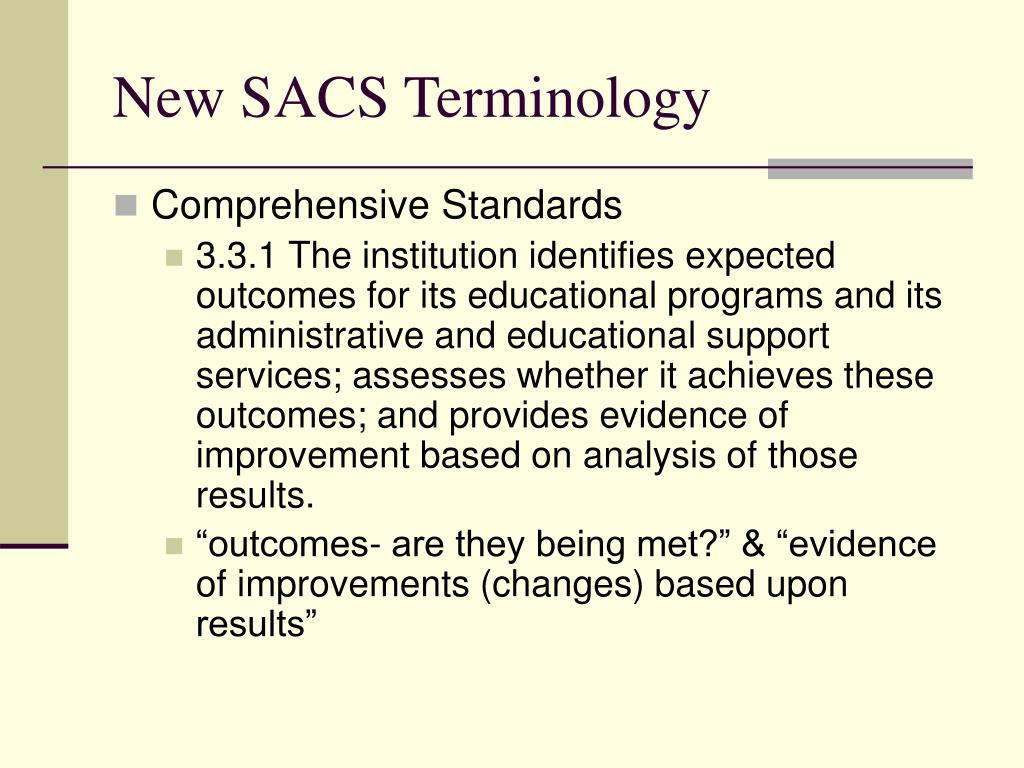 New SACS Terminology