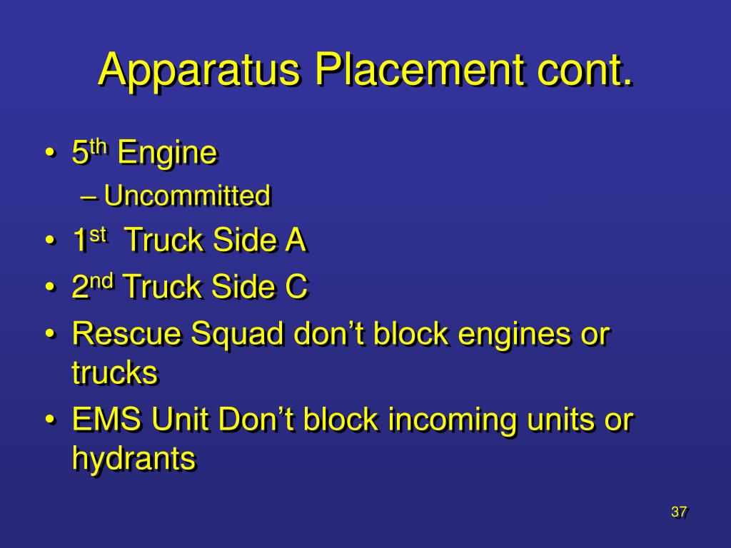Apparatus Placement cont.