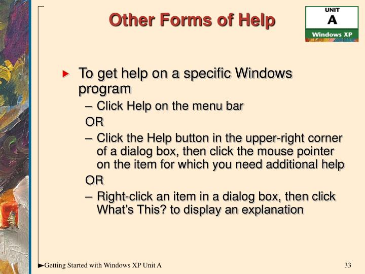 To get help on a specific Windows program