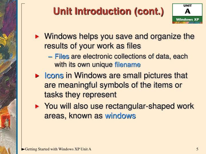 Unit Introduction (cont.)