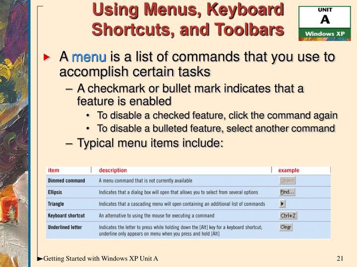 Using Menus, Keyboard Shortcuts, and Toolbars