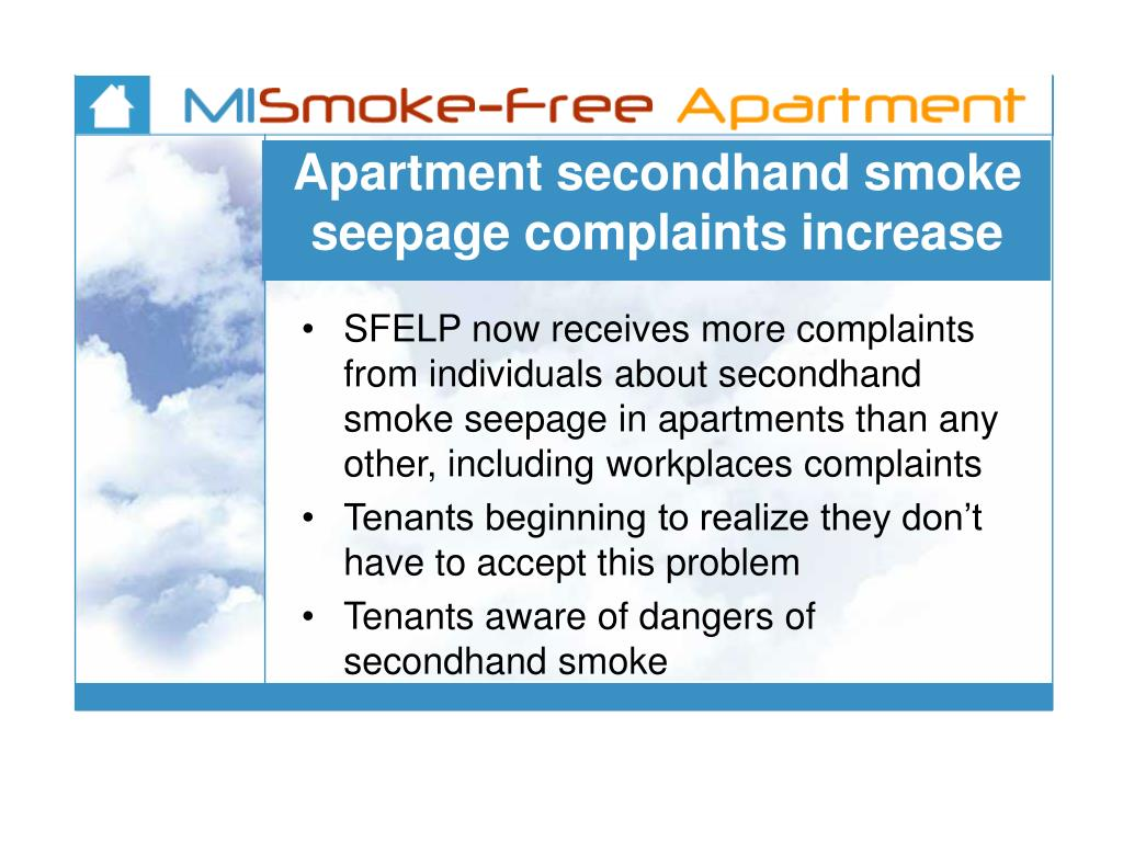 Apartment secondhand smoke seepage complaints increase
