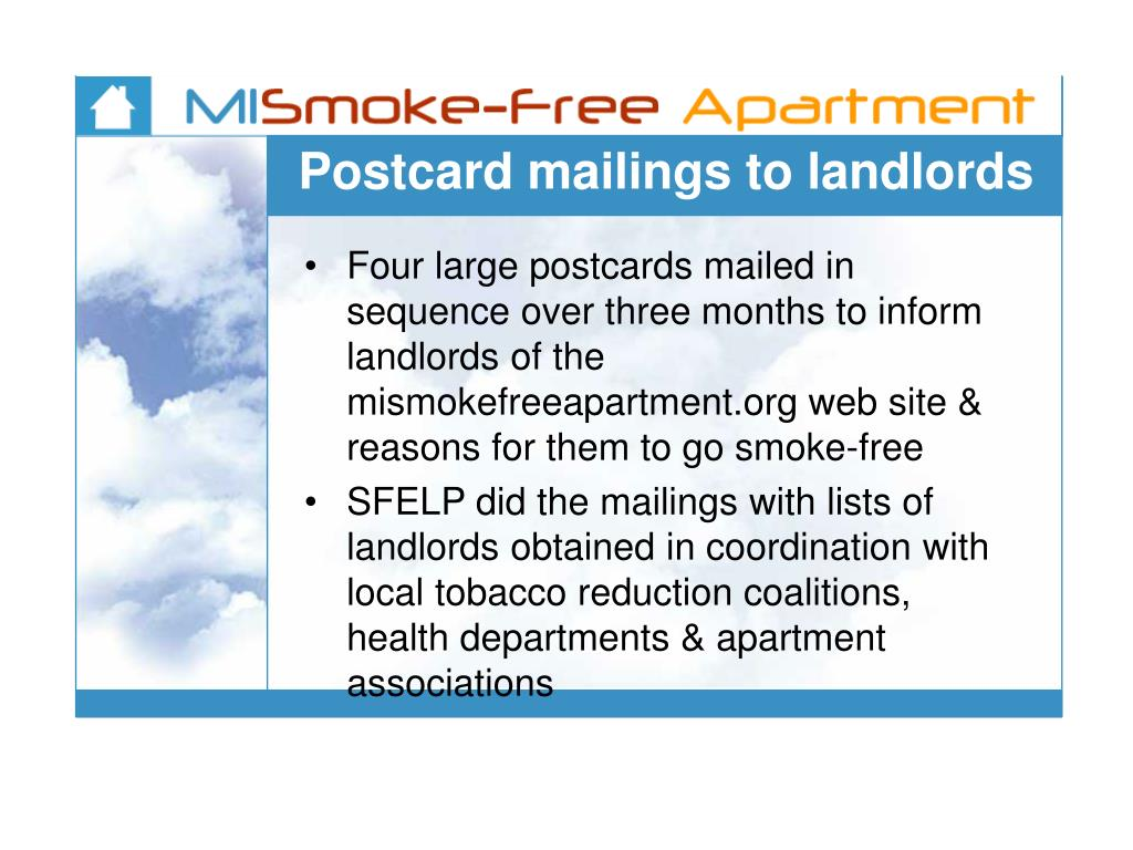 Postcard mailings to landlords