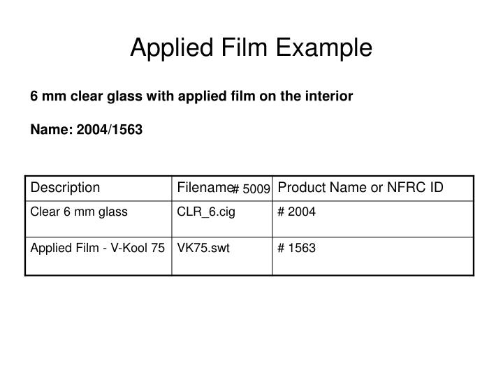Applied Film Example