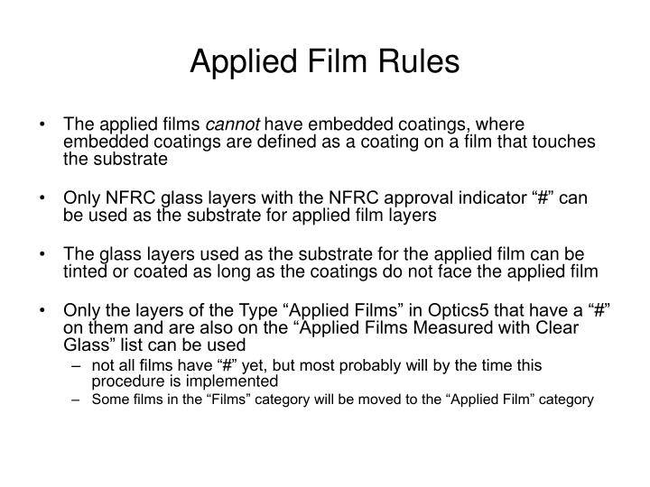 Applied Film Rules