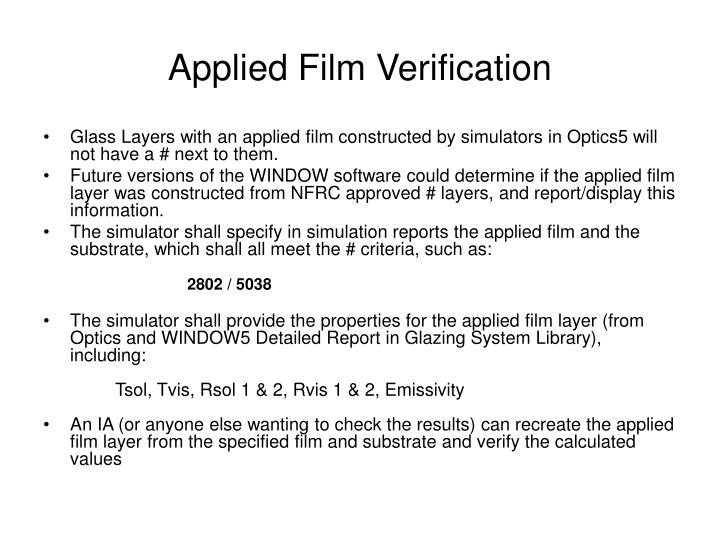 Applied Film Verification