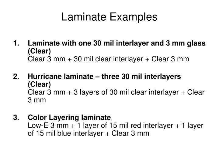 Laminate Examples