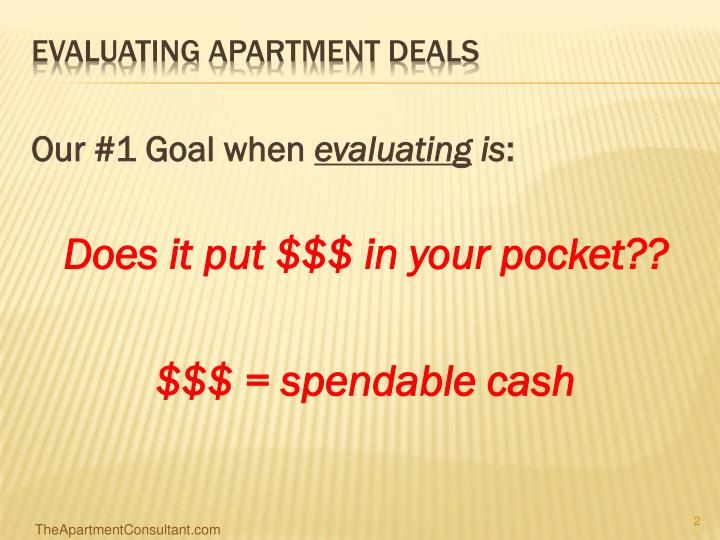 Evaluating apartment deals