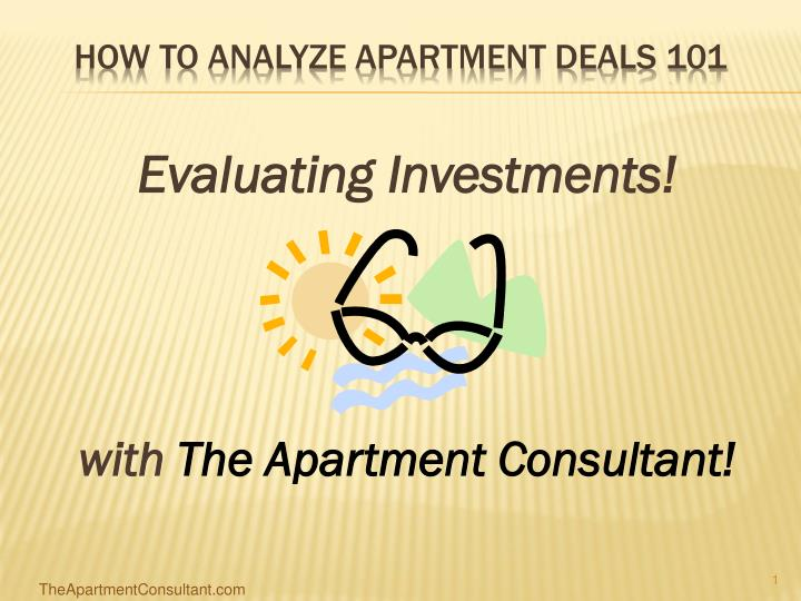 How to analyze apartment deals 101