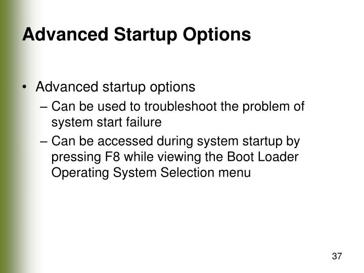 Advanced Startup Options