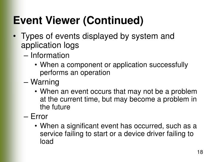 Event Viewer (Continued)