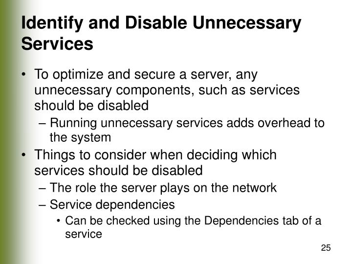 Identify and Disable Unnecessary Services