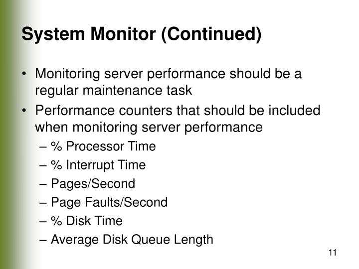 System Monitor (Continued)