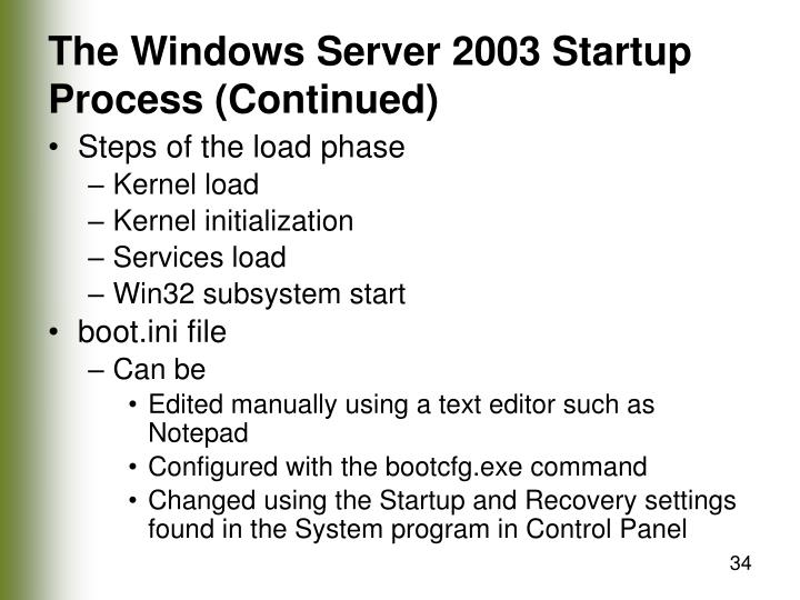 The Windows Server 2003 Startup Process (Continued)