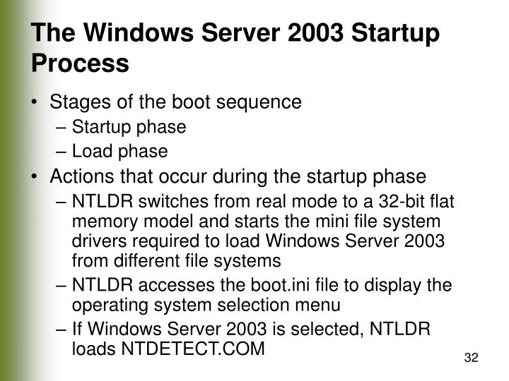 The Windows Server 2003 Startup Process