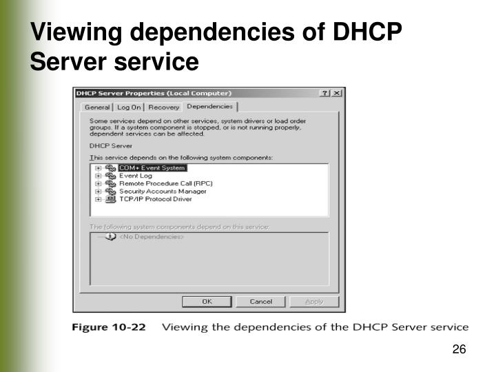 Viewing dependencies of DHCP Server service