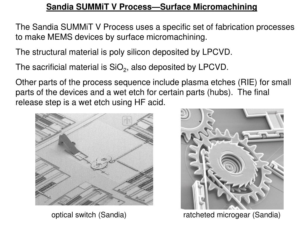 Sandia SUMMiT V Process—Surface Micromachining
