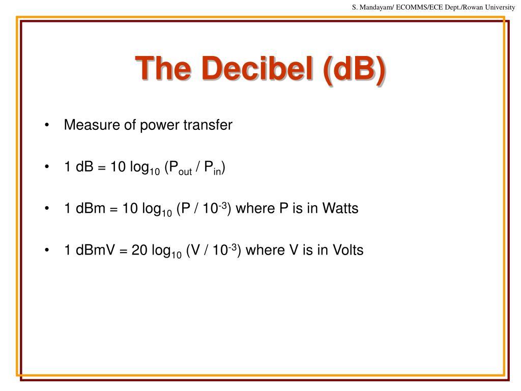The Decibel (dB)