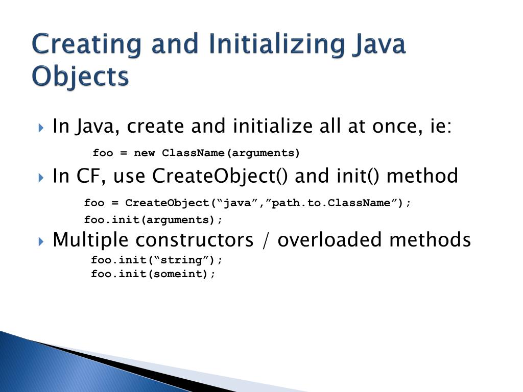 Creating and Initializing Java Objects