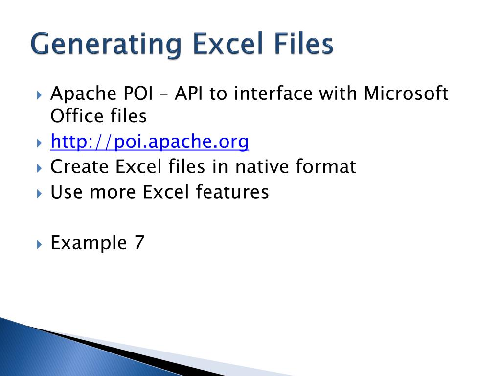 Generating Excel Files