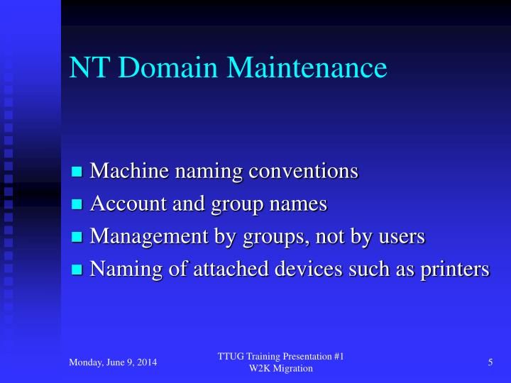 NT Domain Maintenance