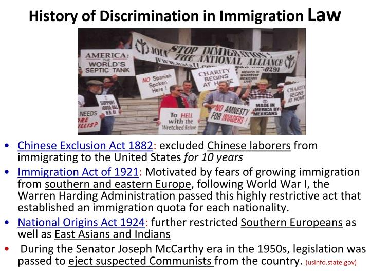 History of Discrimination in Immigration