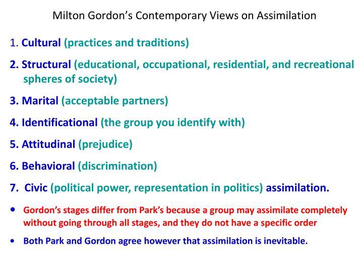 Milton Gordon's Contemporary Views on Assimilation