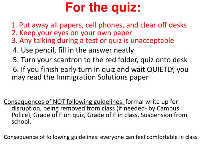 For the quiz:
