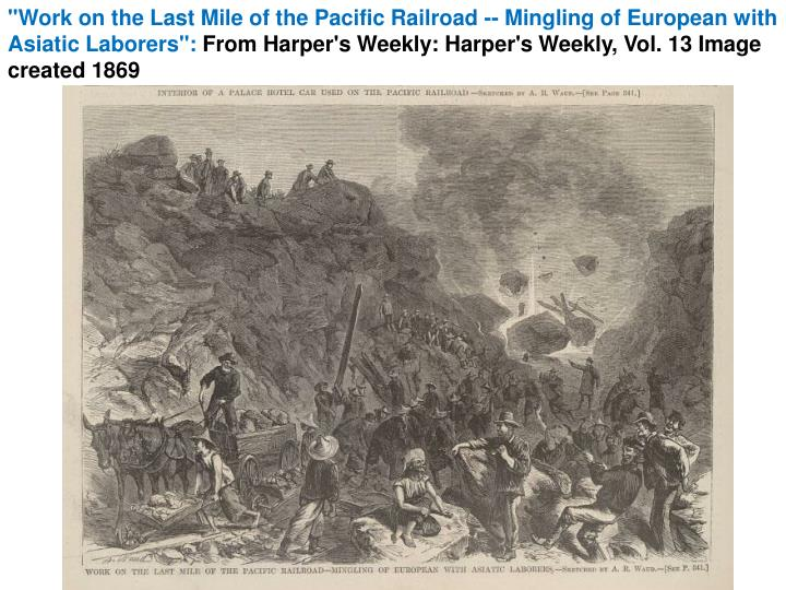 """""""Work on the Last Mile of the Pacific Railroad -- Mingling of European with Asiatic Laborers"""":"""