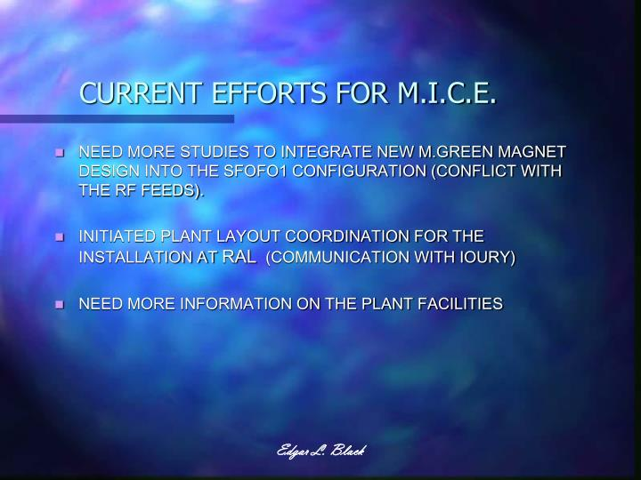 CURRENT EFFORTS FOR M.I.C.E.