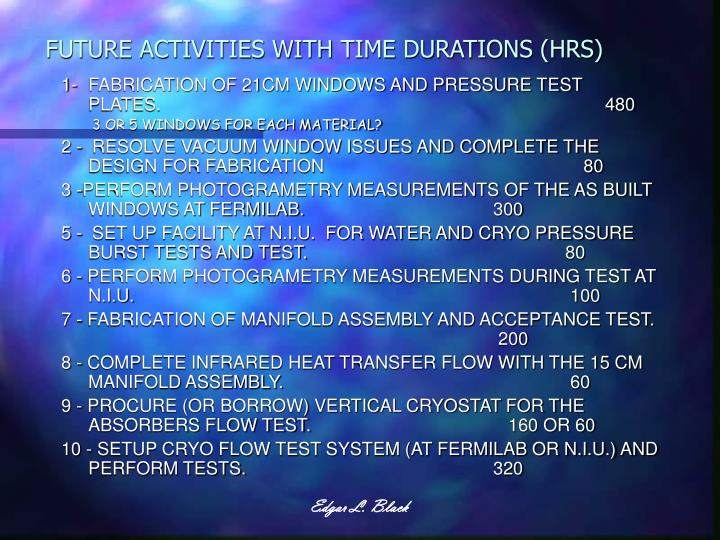 FUTURE ACTIVITIES WITH TIME DURATIONS (HRS)