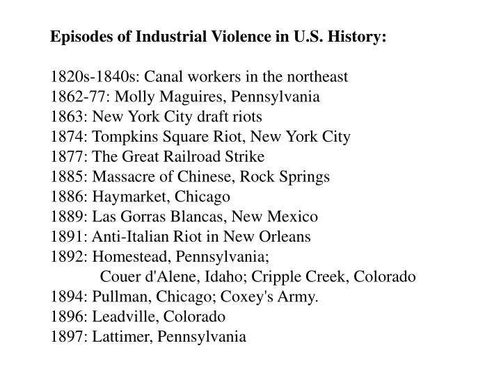 Episodes of Industrial Violence in U.S. History: