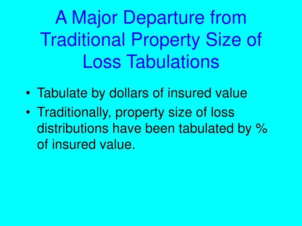 A Major Departure from Traditional Property Size of Loss Tabulations