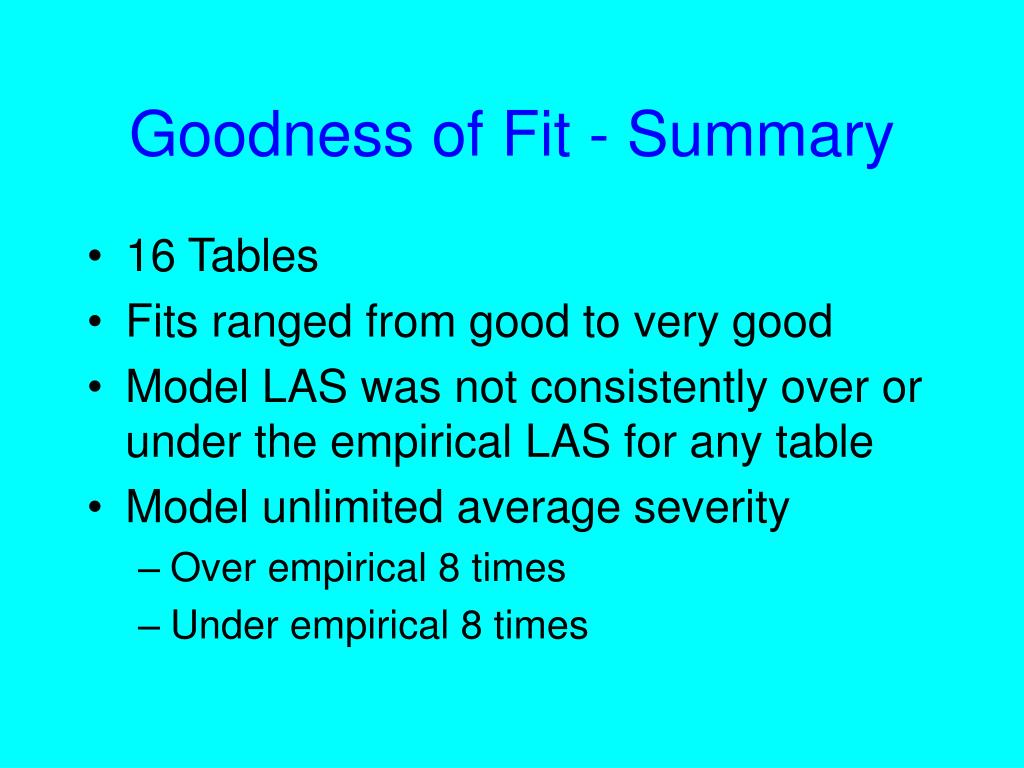 Goodness of Fit - Summary