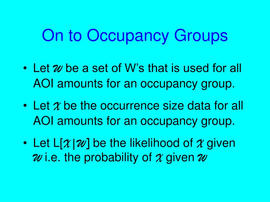 On to Occupancy Groups