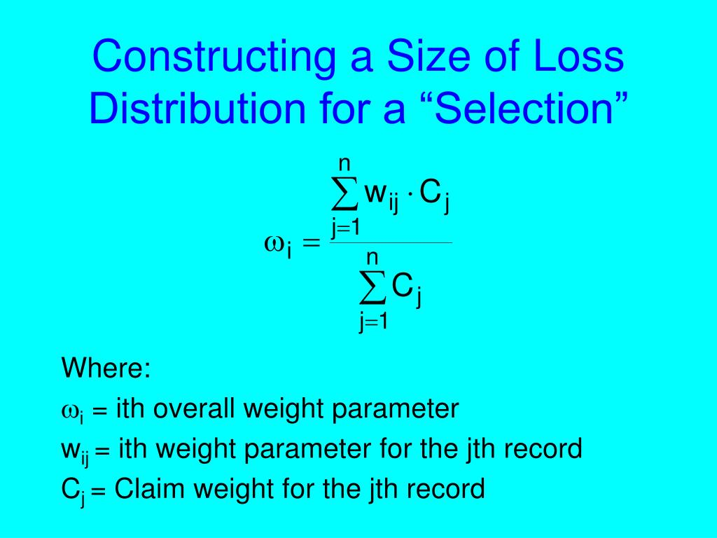 """Constructing a Size of Loss Distribution for a """"Selection"""""""