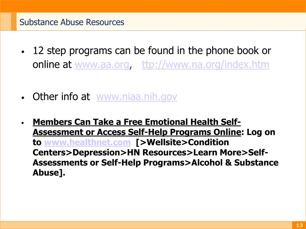 Substance Abuse Resources