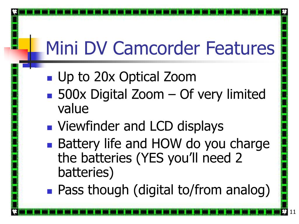 Mini DV Camcorder Features