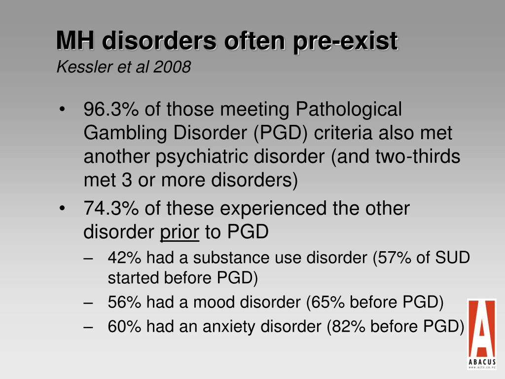MH disorders often pre-exist